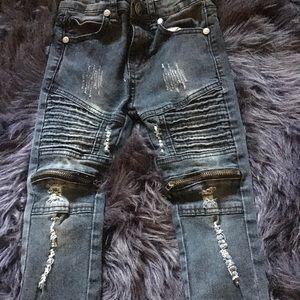 Toddler Black washed biker jeans